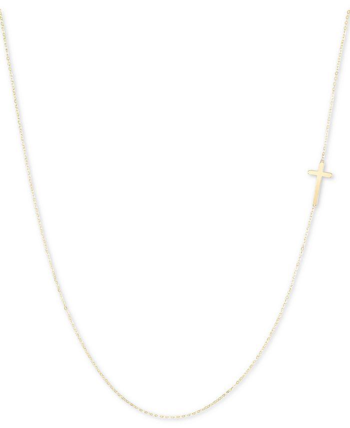 "Italian Gold - East-West Cross 18"" Pendant Necklace in 10k Gold"