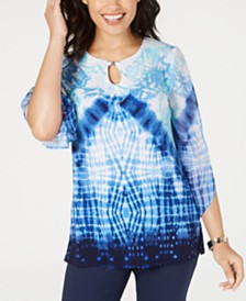JM Collection Petite Tie-Dyed Tunic, Created for Macy's