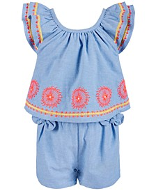 Baby Girls Embroidered Romper, Created for Macy's