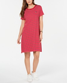 Tommy Hilfiger Cotton Striped T-Shirt Dress, Created for Macy's