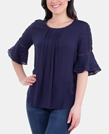 NY Collection Pleated Crochet-Trim Top