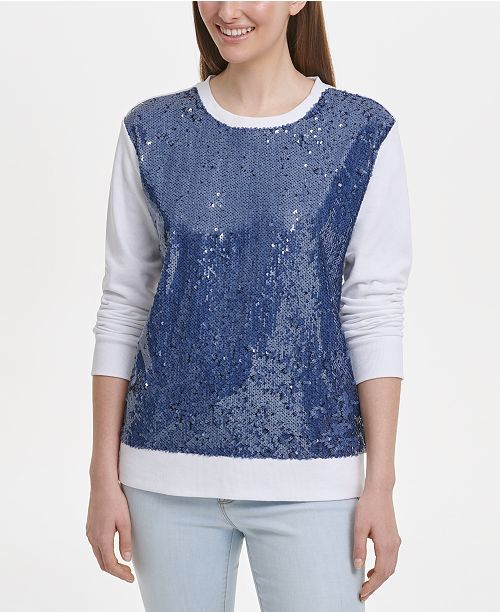 DKNY Sequinned-Front Sweater
