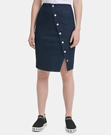 DKNY Asymmetrical Button-Front Denim Skirt