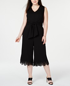 Robbie Bee Plus Size Cropped Lace-Trim Jumpsuit