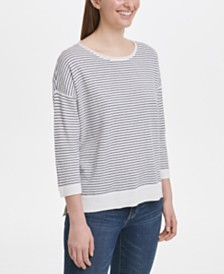 DKNY Striped Drop-Shoulder Sweater