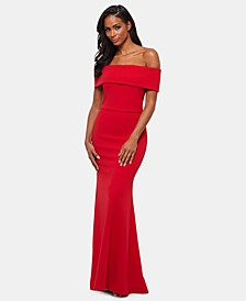 Petite Off-The-Shoulder Crepe Bustle Gown