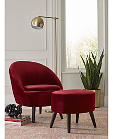 Elle Décor Nico Mid-Century Modern Velvet Accent Chair and Ottoman Set