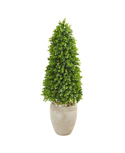 Nearly Natural 3.5' Eucalyptus Topiary Artificial Tree in Sand Colored Planter (Indoor/Outdoor)