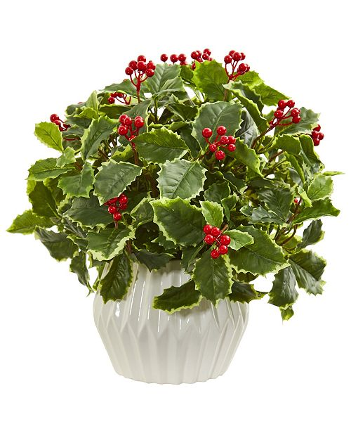 "Nearly Natural 15"" Holly Leaf Artificial Plant in White Vase (Real Touch)"