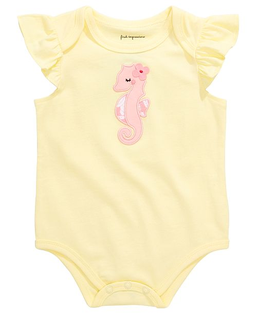 First Impressions First Impression's Baby Girl's Seahorese Bodysuit, Created for Macy's