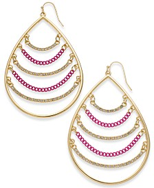 Thalia Sodi Two-Tone Crystal & Chain Drop Earrings, Created for Macy's