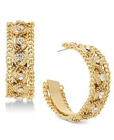 Thalia Sodi Gold-Tone Crystal & Chain Wide Hoop Earrings, Created for Macy's