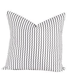 """Serpentine Stripe Licorice 20"""" Designer Throw Pillow"""