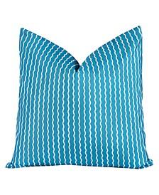 Serpentine Stripe Cerulean Designer Throw Pillow
