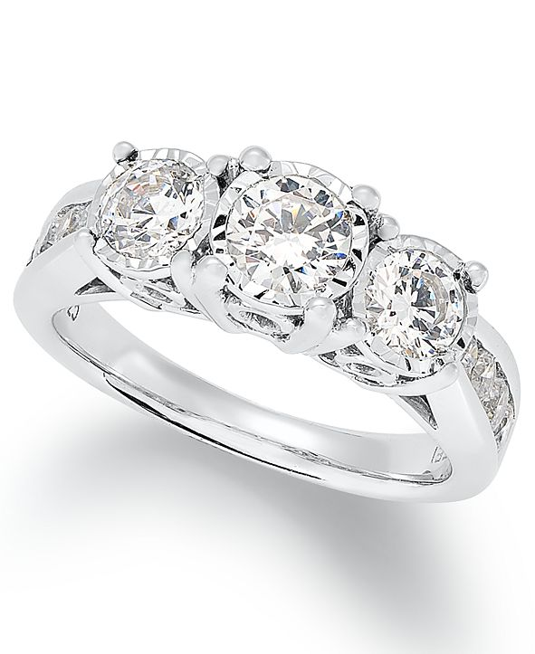 TruMiracle Diamond Trinity Ring (1-1/2 ct. t.w.) in 14k White Gold