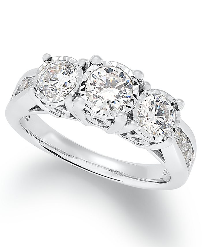 TruMiracle - Diamond Trinity Ring (1-1/2 ct. t.w.) in 14k White Gold