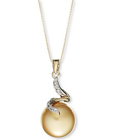 14k Gold Necklace, Cultured Golden South Sea Pearl (12mm) and Diamond Accent Pendant