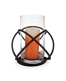 Large Metal and Glass Orbits Hurricane Candleholder