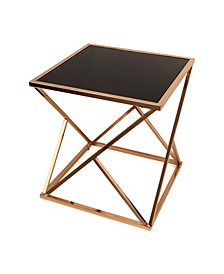 Square End Table with Black Glass top