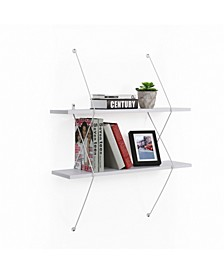 Contemporary Two Level White Shelving System with Wire Brackets