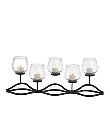 Wavy Iron and Glass Hurricane Candleholder