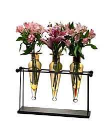 Triple Amphora on Iron Stand with Finials Vases