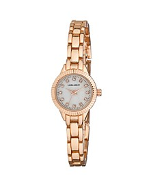 Ladies' Rose Gold Mini Bracelet With Coin Edge Bezel Link Womens Watch