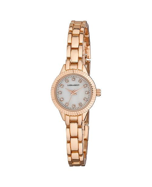 Laura Ashley Ladies' Rose Gold Mini Bracelet With Coin Edge Bezel Link Womens Watch