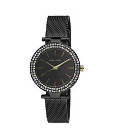 Ladies' T-Bar Case Double Stone Bezel Black Mesh Band Watch