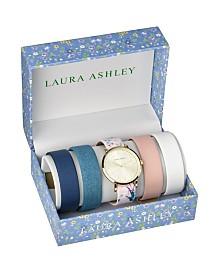 Laura Ashley Gold Slidethrough Interchangeable Sleek Dial Set Watch