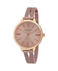 Pink Split Mesh Band Sunray Dial Watch