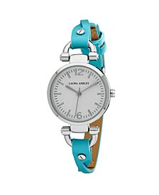 Blue Ladies' Dial Analog Display Twisted Band Round Watch