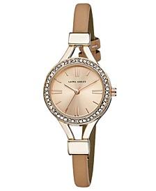 Ladies' Pink Thin Strap Rose Gold Case Crystal Bezel Watch