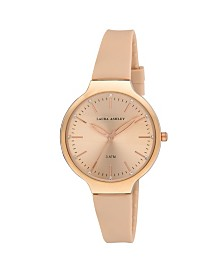 Laura Ashley Ladies' Rose Gold Water Resistant Sunray Dial Soft Silicone Band Watch