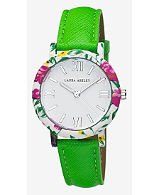 Laura Ashley Ladies' Band Floral Bezel Watch