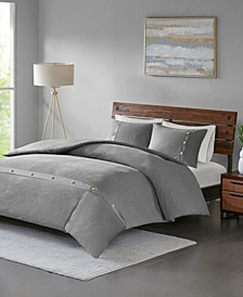 Madison Park Finley King/California King 3 Piece Cotton Waffle Weave Duvet Cover Set