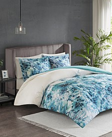 Madison Park Enza King/California King 3 Piece Cotton Printed Duvet Cover Set