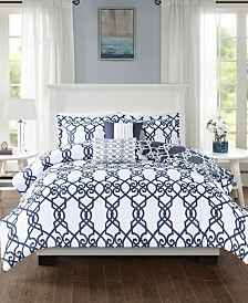 510 Design Neptune Full/Queen 5 Piece Reversible Print Duvet Set