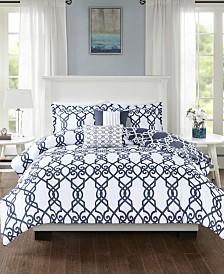 510 Design Neptune Full/Queen 5 Piece Reversible Print Duvet Set