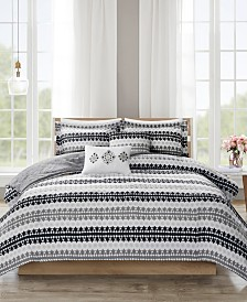 510 Design Neda King/California King 5 Piece Reversible Print Duvet Set