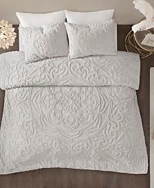 Madison Park Laetitia Queen 3 Piece Cotton Chenille Medallion Comforter Set