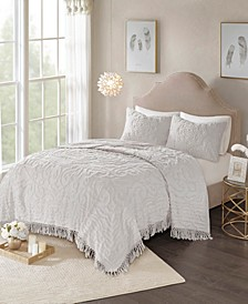 Madison Park Laetitia King/California King 3 Piece Cotton Chenille Medallion Fringe Coverlet Set