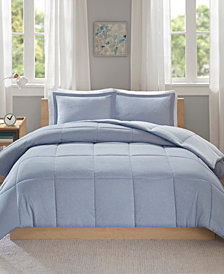 Intelligent Design Carson King/California King Reversible Frosted Print Plush to Heathered Microfiber 3 Piece Comforter Set