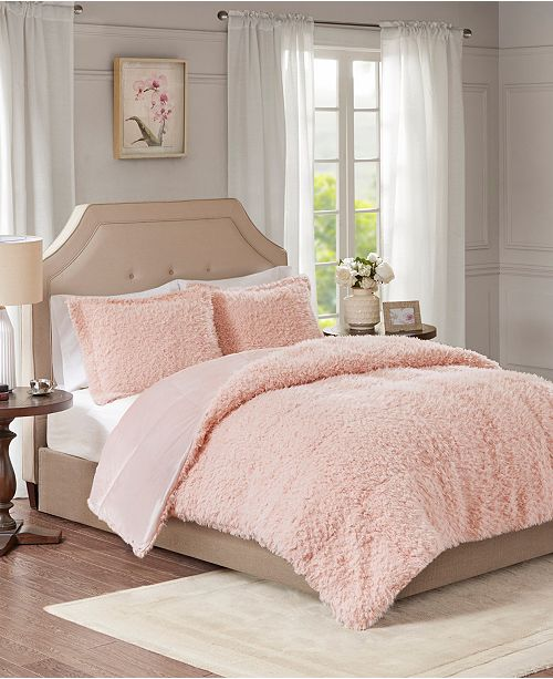 JLA Home Madison Park Nova Full/Queen Faux Mohair Reverse Faux Mink 3 Piece Comforter Set
