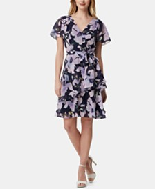 Tahari ASL Layered Floral-Print Shift Dress
