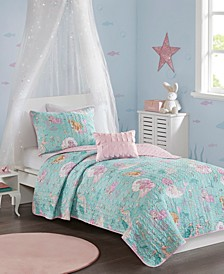 Darya Twin 3 Piece Printed Mermaid Coverlet Set