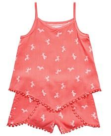 Little Girls 2-Pc. Zebra-Print Tank Top & Shorts Set, Created for Macy's