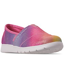 Skechers Little Girls' Lil' BOBS Pureflex - Sparkle Joy Slip-On Casual Sneakers from Finish Line