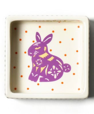 by Laura Johnson Chinese Zodiac Rabbit Square Trinket Bowl