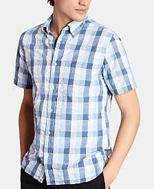 Brooks Brothers Men's Regular-Fit Seersucker Check Short Sleeve Shirt